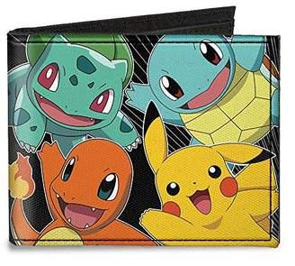 Buckle-Down Men's Canvas Bi-fold Wallet - Kanto Starter Pokamon & Pikachu/pok Accessory