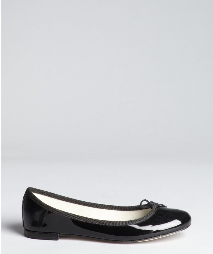 Repetto Black Patent Leather Bow Detail Ballet Flats