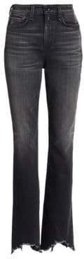 Rag & Bone Rag& Bone Women's Bella High-Rise Flared Split FrayedHem Jeans - Clean Onyx - Size 27 (4)