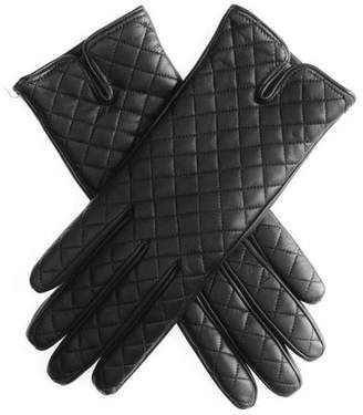 Black Leather Quilted Gloves - Cashmere Lined