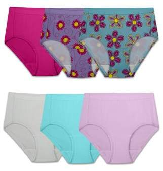 50a7b1a3ccd6 Fruit of the Loom Assorted Microfiber Brief Underwear, 6 Pack (Little Girls  & Big