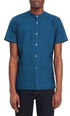 Calvin Klein Short Sleeve Woven Grid Print Sport Shirt