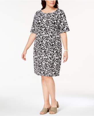 Karen Scott Plus Size Printed Shift Dress, Created for Macy's