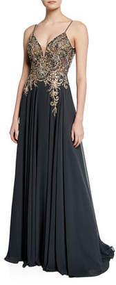 Jovani V-Neck Spaghetti-Strap Embellished-Bodice Flowy Gown