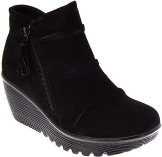 Skechers Ruched Suede Wedge Boots - Parallel Universe