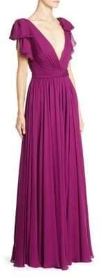 Jenny Packham Silk Deep V-Neck Gown