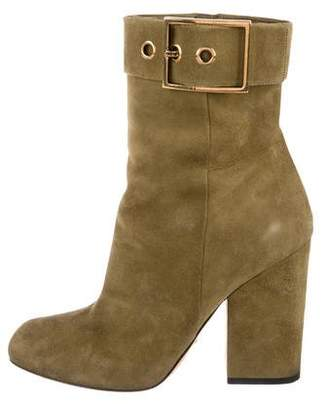 Gucci Buckle Suede Ankle Boots