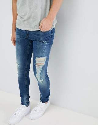 Blend distressed super skinny jeans in dark wash 927104cd4e