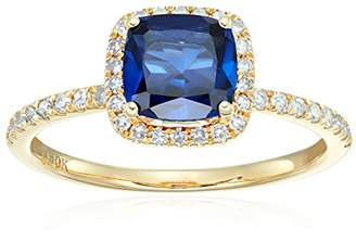 10k Yellow Gold Created Sapphire and Diamond Cushion Engagement Ring (1/4cttw