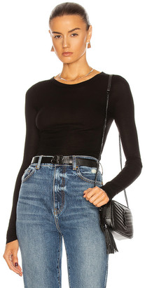Enza Costa Rib Viscose-Blend Tee in Black | FWRD
