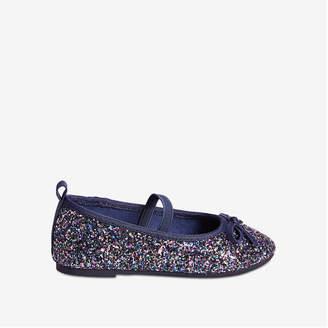 Joe Fresh Toddler Girls' Glitter Flats, Black Mix (Size 6)