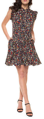 Dex Ruffled Floral Print Cutout Dress