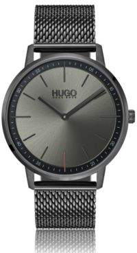 HUGO Boss Unisex watch in grey-plated stainless steel mesh bracelet One Size Assorted-Pre-Pack