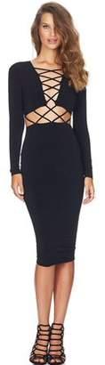 Betruststore Fashion Clubwear Dress Cross Straps Front Long Sleeve Bodycon Bandage Dress