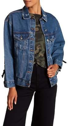 Modern Designer Denim Lace-Up Jacket