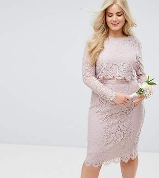 Asos DESIGN Curve Bridesmaid lace long sleeve midi pencil dress