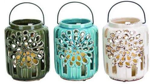 Benzara Ceramic Lanterns, 3-Piece Set