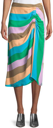 Tibi Striped Shirred Midi-Length Skirt