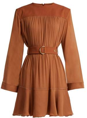 Chloé Mousseline Gathered Mini Dress - Womens - Brown