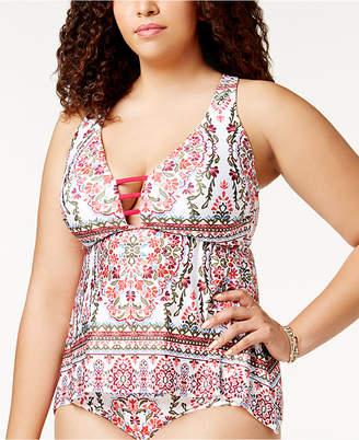 Becca Etc Plus Size Granada Tankini Top Women's Swimsuit