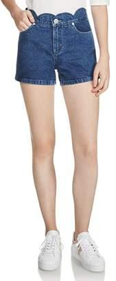 Maje Shafti Scalloped Denim Mini Shorts