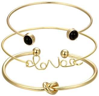 Shein Twist & Letter Cuff Bracelet Set 3pcs