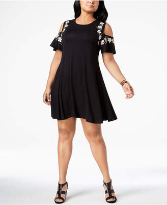 Style&Co. Style & Co Plus Size Embroidered Cold-Shoulder A-Line Dress