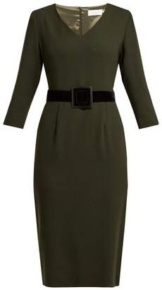Goat Graduate Wool Crepe Pencil Dress - Womens - Dark Green