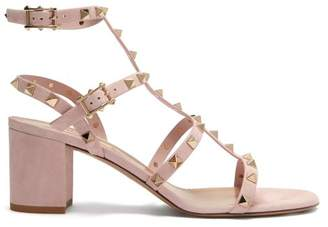 Valentino Rockstud Block Heel Suede Sandals - Womens - Light Pink