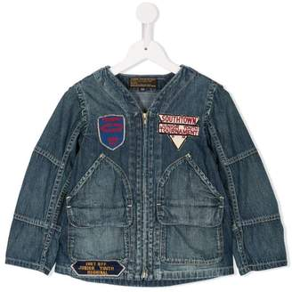Denim Dungaree patch embellished denim jacket