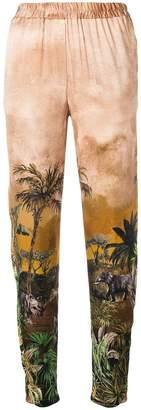 Just Cavalli safari print cropped trousers