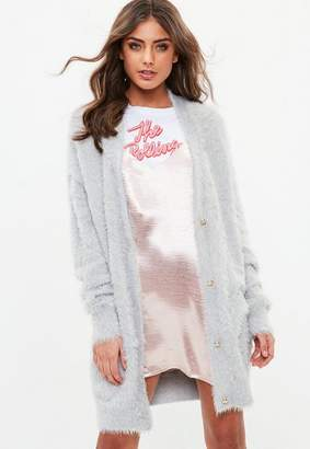 Missguided Gray Longline Fluffy Knit Cardigan