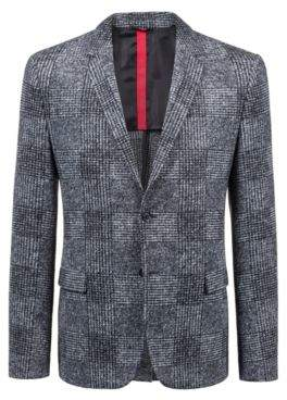 HUGO Boss Slim-fit blazer oversized Glen-check pattern 38R Charcoal