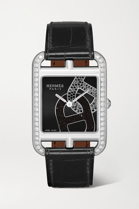 Hermes Timepieces timepieces - Cape Cod 29mm Medium Stainless Steel, Alligator And Diamond Watch - Silver