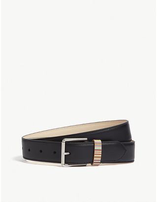 Paul Smith Mens Black Striped Luxurious Belt