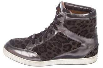 Jimmy Choo Suede Patent Leather-Trimmed Sneakers