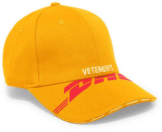 Vetements Embroidered Cotton-twill Baseball Cap - Yellow