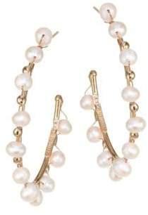 Rosantica Dada Pearl Goldtone Hoop Earrings