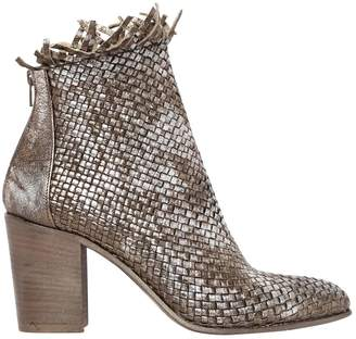 Strategia 80mm Woven Metallic Leather Ankle Boots