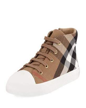 Burberry Belford Check High-Top Sneaker, Beige, Toddler/Youth Sizes 10T-4Y