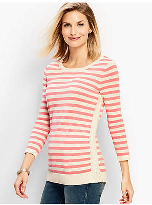 Talbots Crochet-Side Stripe Sweater