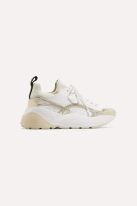 Stella McCartney Net Sustain Eclypse Logo-woven Faux Leather And Neoprene Sneakers - White