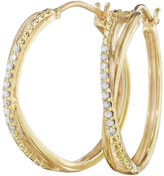 JCPenney FINE JEWELRY 1/10 CT. T.W. Diamond 14K Yellow Gold Over Sterling Silver X-Hoop Earrings