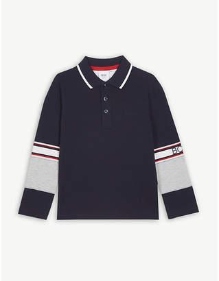 BOSS Logo striped cotton polo shirt 4-16 years