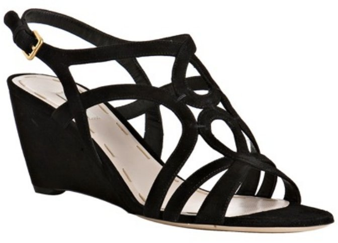 Miu Miu black suede strappy wedges