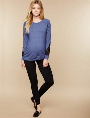 Motherhood Maternity Under Belly Fleece Lined Maternity Leggings- Black