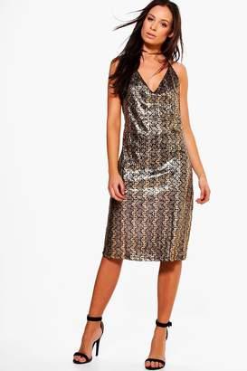 boohoo Carey Metallic Strappy Dress