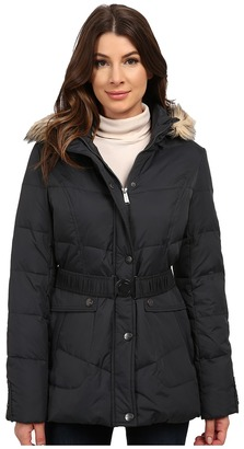 DKNY Belted Short Chevron Quilt Coat $285 thestylecure.com