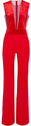 dabdf62b0cd2 Galvan Gwyneth Velvet And Tulle-paneled Crepe Jumpsuit - Red