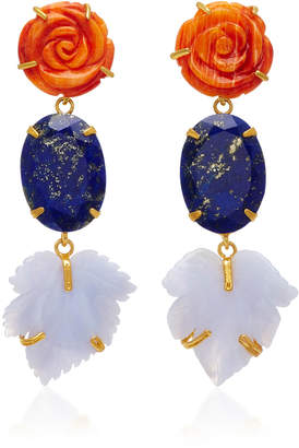 Bounkit 14K Gold-Plated Brass Carved Red Oyster Shell Lapis Blue Lace Agate Earrings